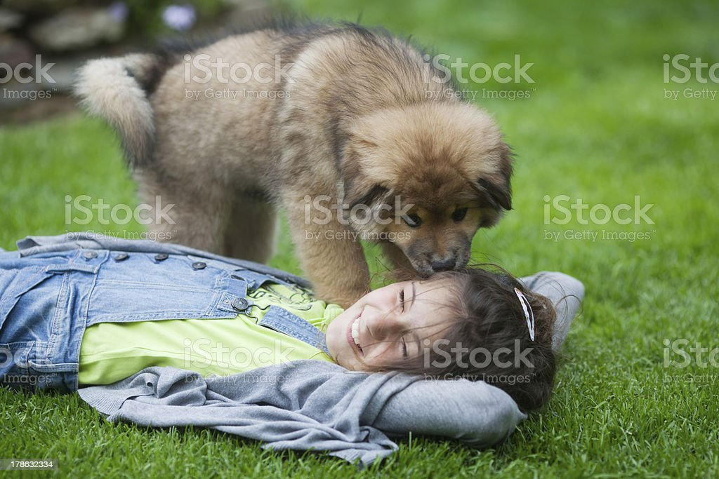 young girl and her puppy royalty-free stock photo