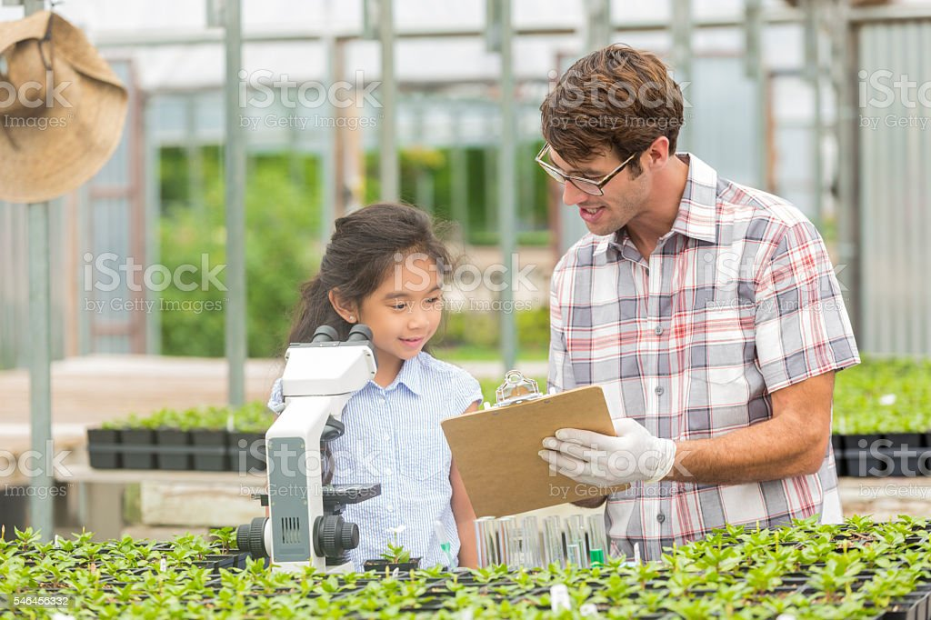 Young girl and her science teacher at plant nursery stock photo