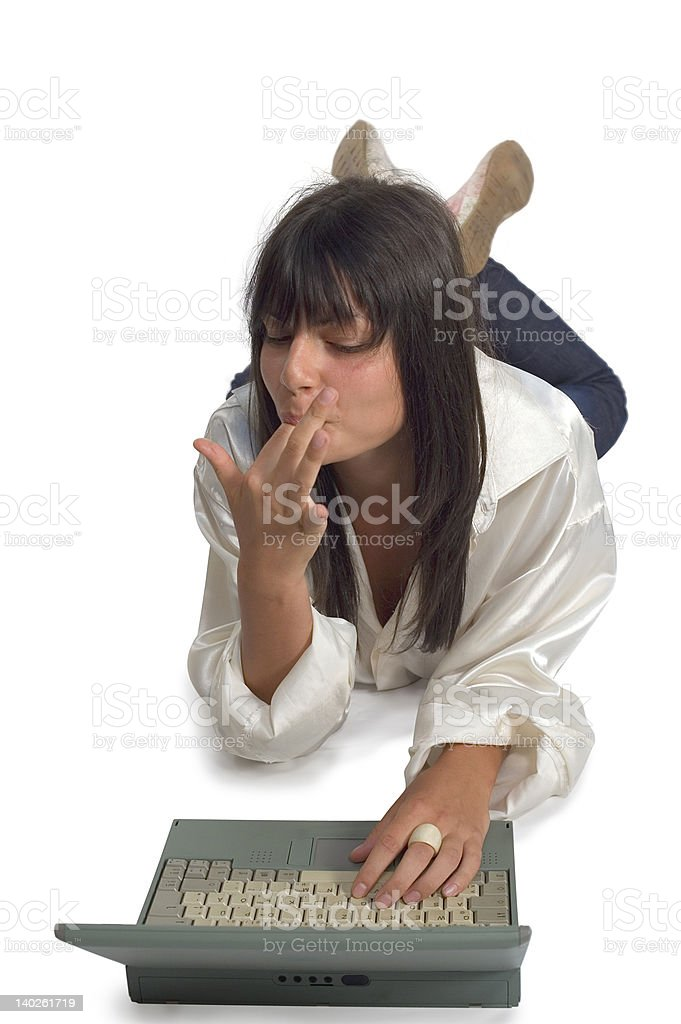 Young girl and laptop stock photo