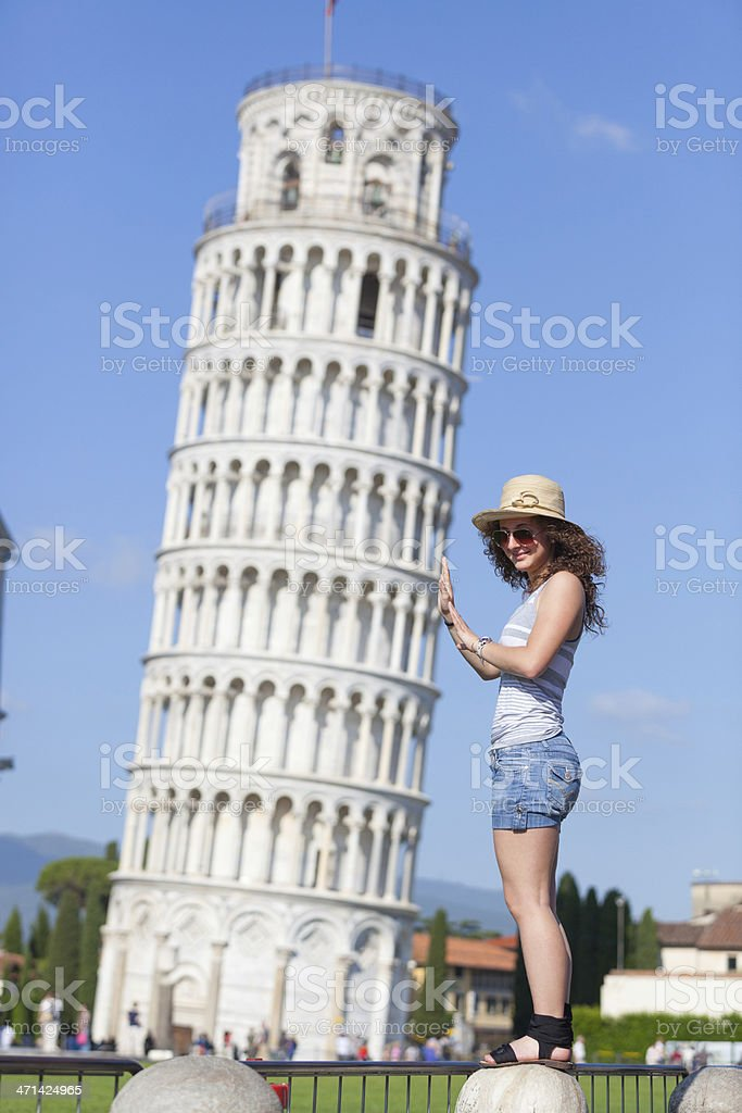 Young Girl and Leaning Tower of Pisa royalty-free stock photo