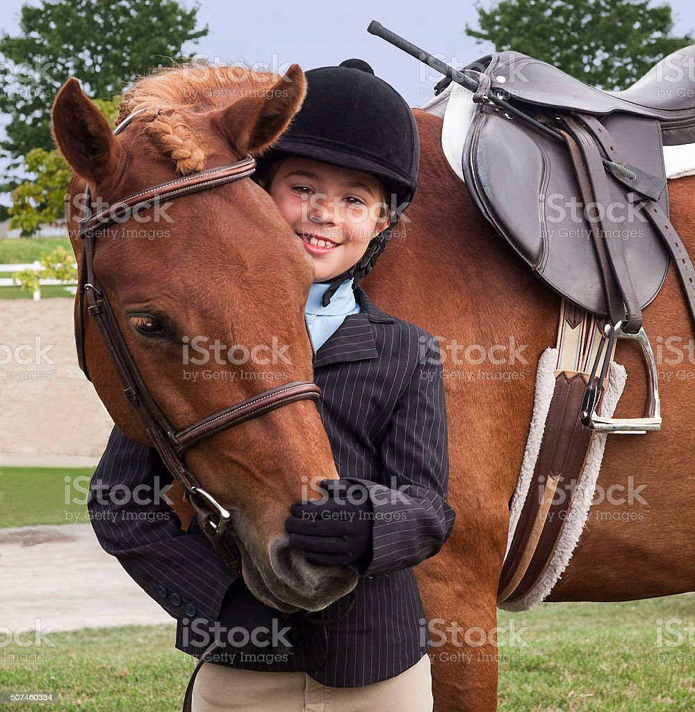 Young Girl and Pony stock photo