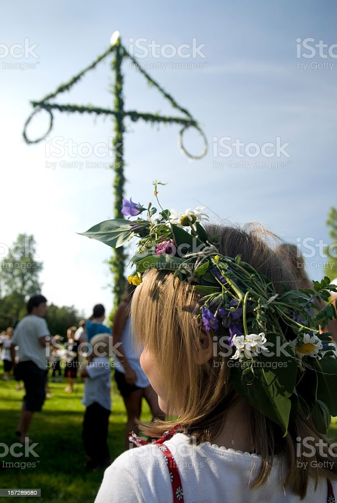 Young girl at a midsummer festival stock photo