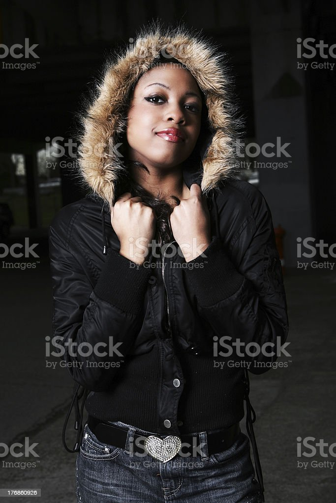Young Girl At Night In Studio Lighting. royalty-free stock photo
