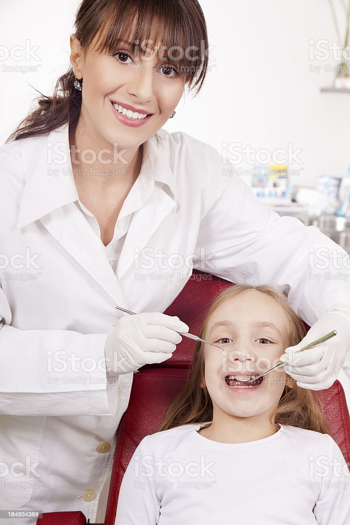 Young girl at the dentist's office royalty-free stock photo