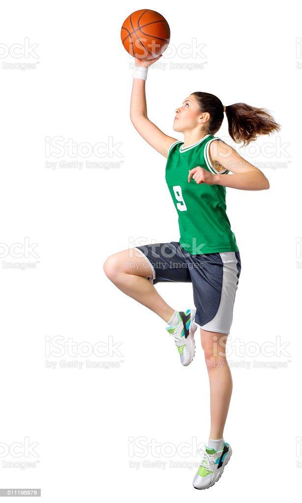 Young girl basketball player stock photo