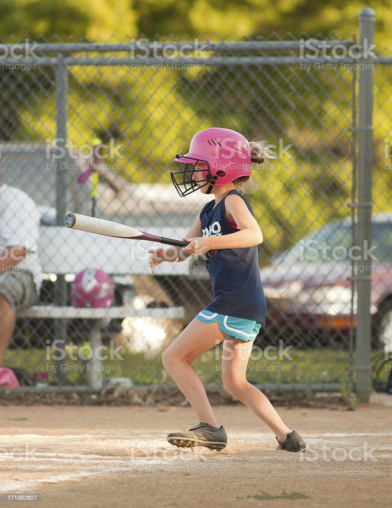 Young Girl Batter in Tournament Softball Game royalty-free stock photo