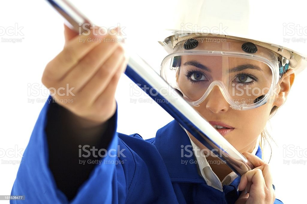 Young girl blond with tube royalty-free stock photo