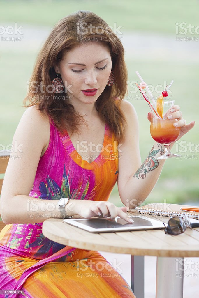 Young girl browsing trendy tablet pc royalty-free stock photo