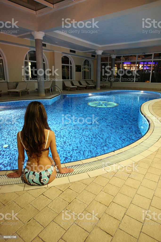 Young girl by the pool-Opatija-Croatia royalty-free stock photo