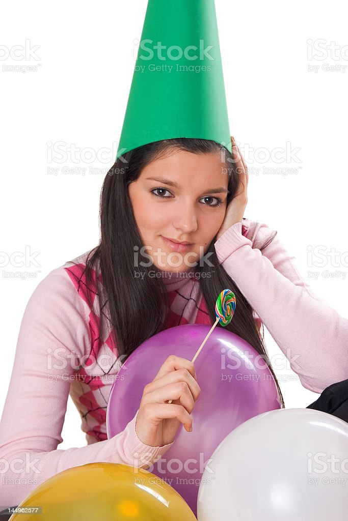 young girl celebrating her birthday royalty-free stock photo