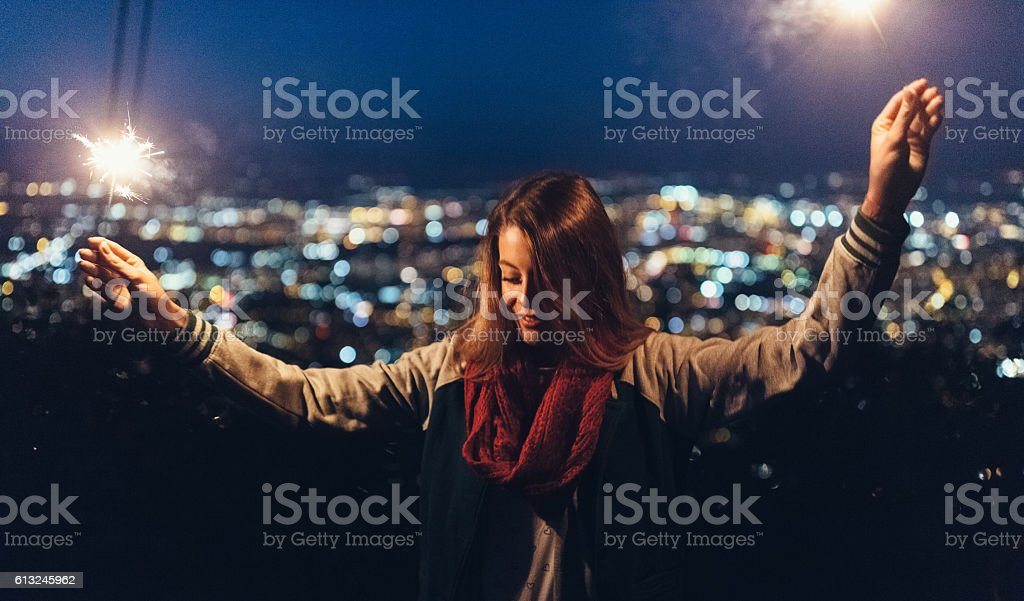 Young girl celebrating the upcoming new year stock photo