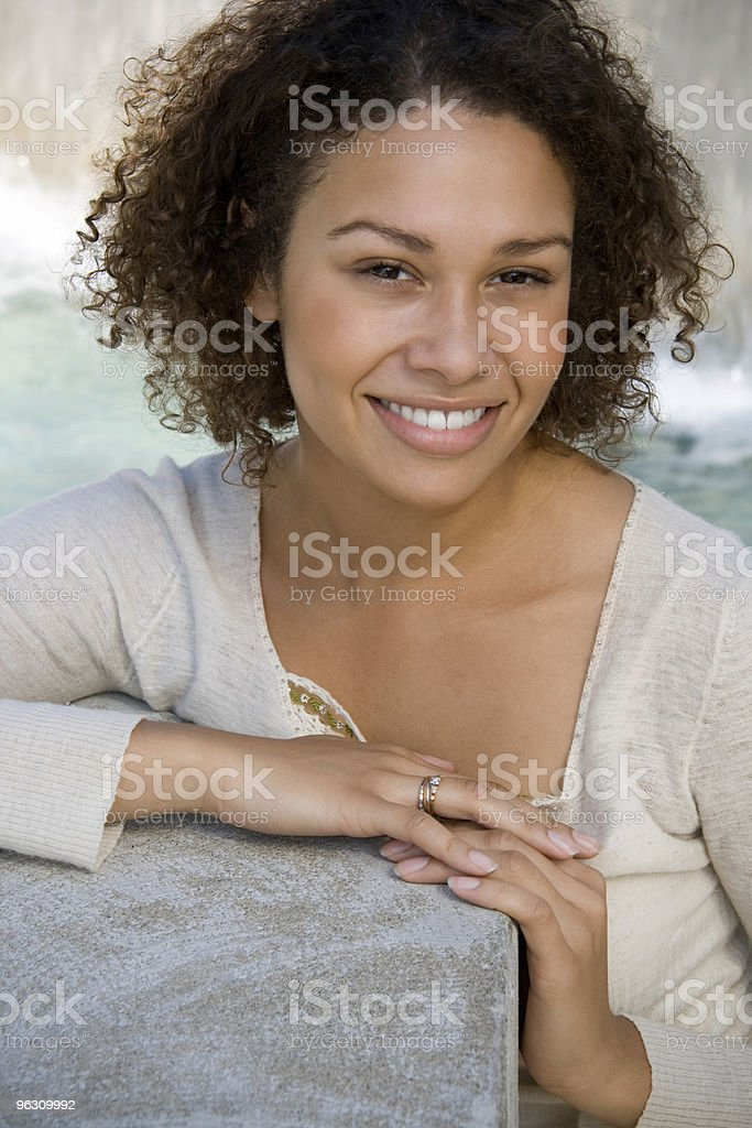 Young Girl - Cement Block #2 royalty-free stock photo