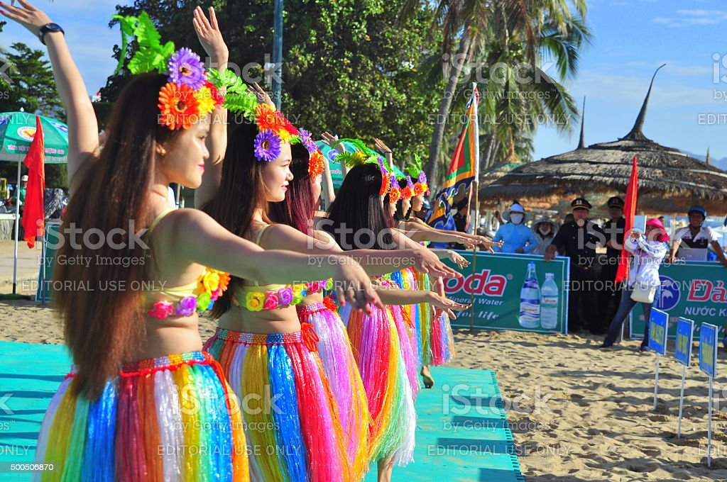 Young girl dancers are performing a sport dance stock photo