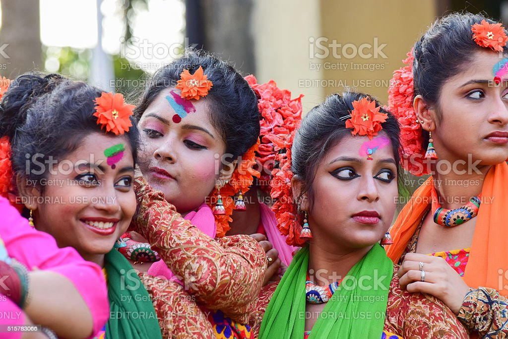 Young girl dancer's jouful expression at Holi (Spring) festival, Kolkata. stock photo