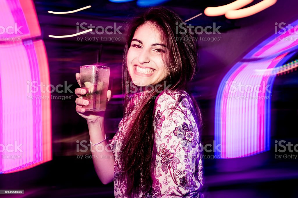 Young girl dancing at the Party royalty-free stock photo