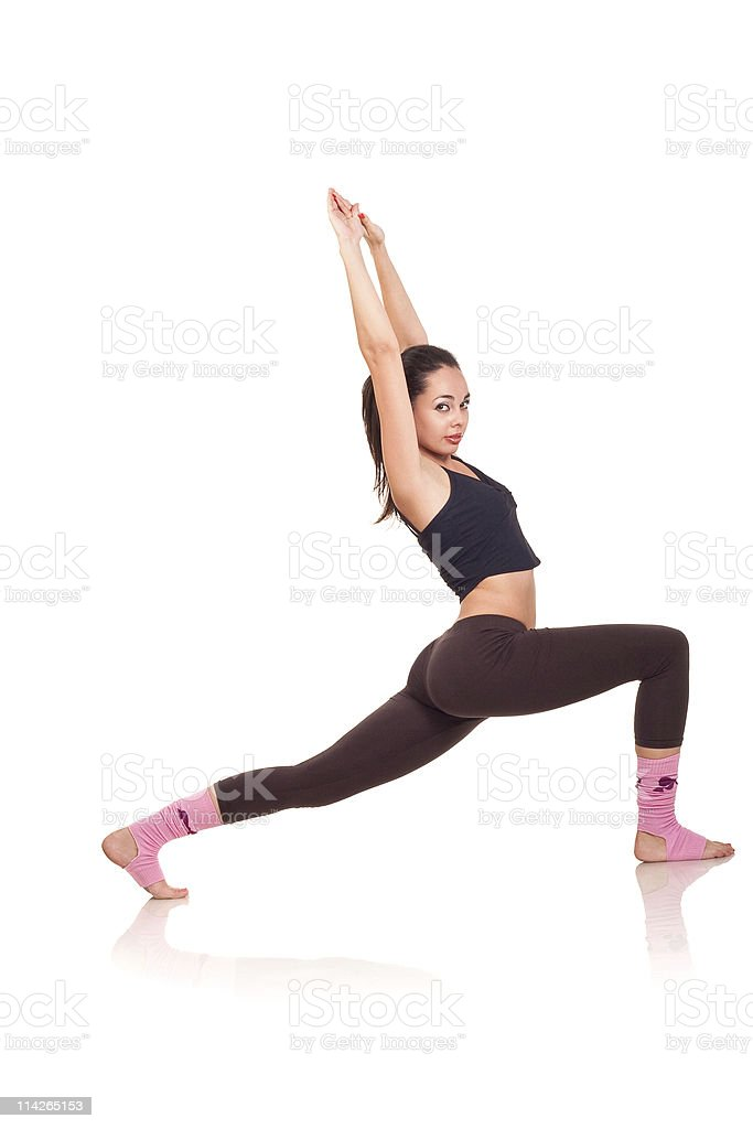 young girl doing a fitness exercises royalty-free stock photo
