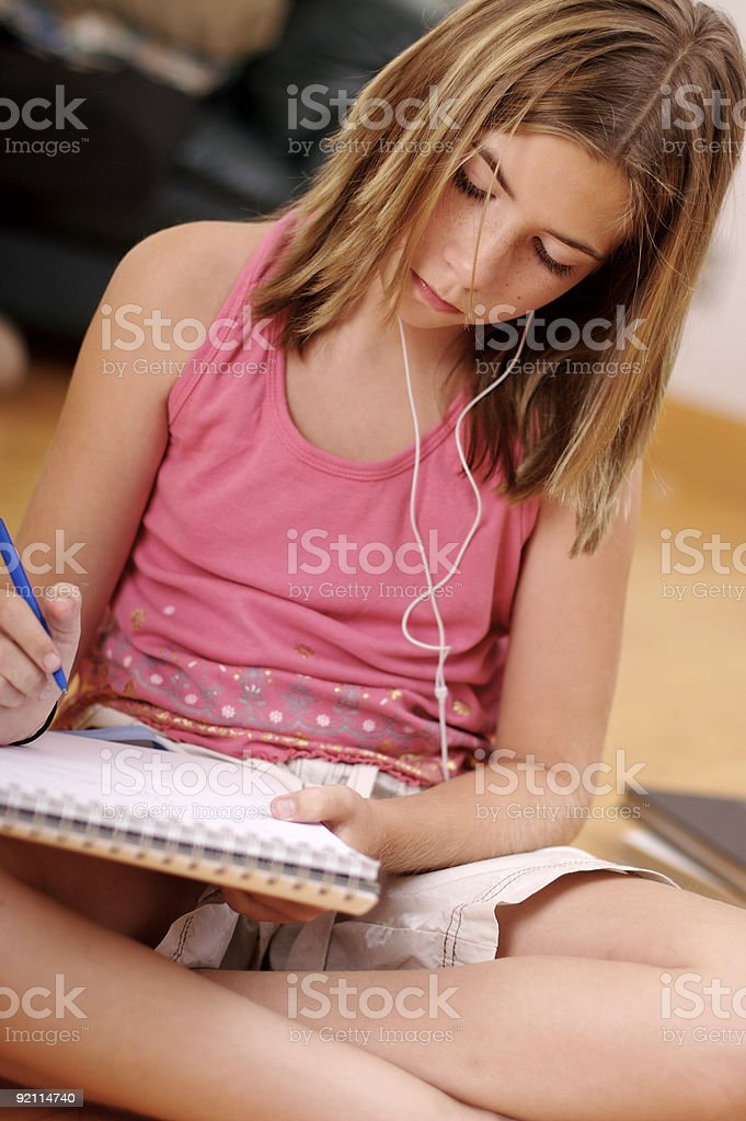 Young girl doing homework royalty-free stock photo