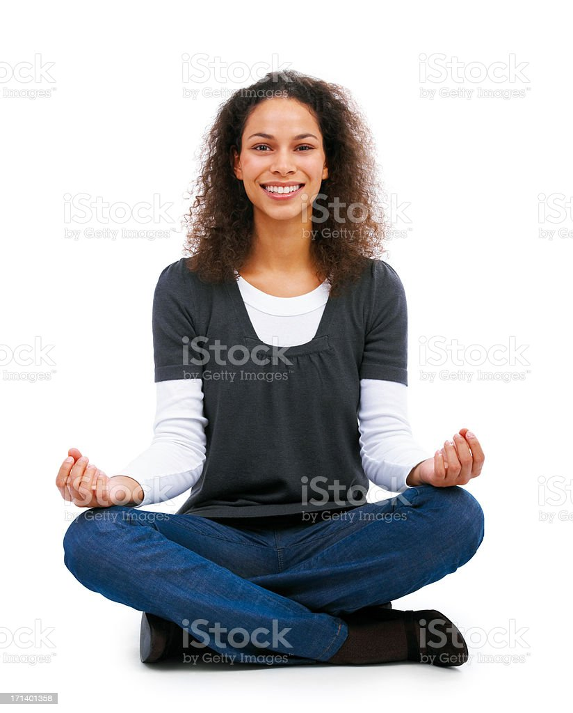 Young Girl doing yoga on a white background royalty-free stock photo
