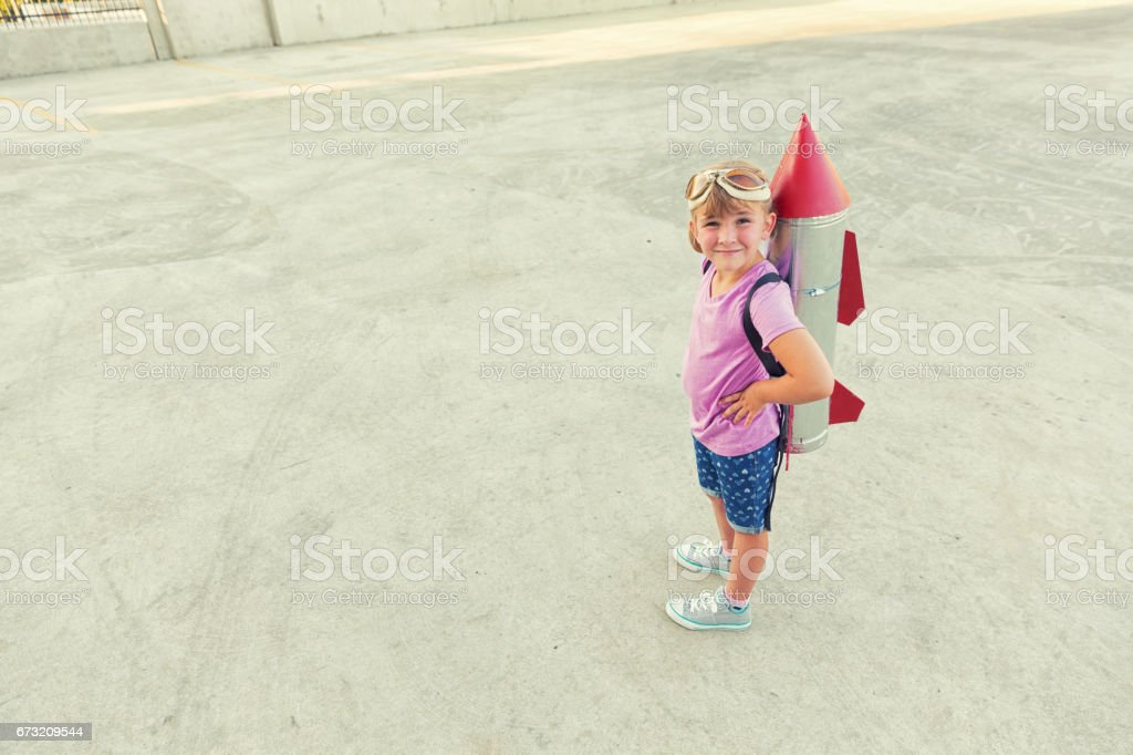 Young Girl Dreams of being an Astronaut stock photo