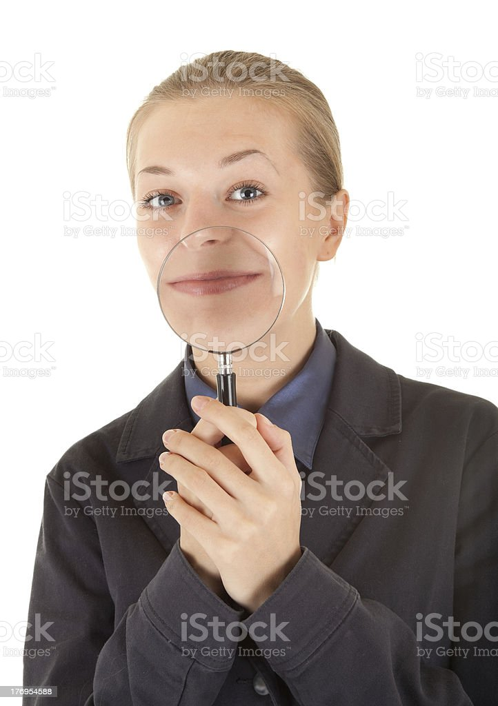 young girl dressed in an office stock photo