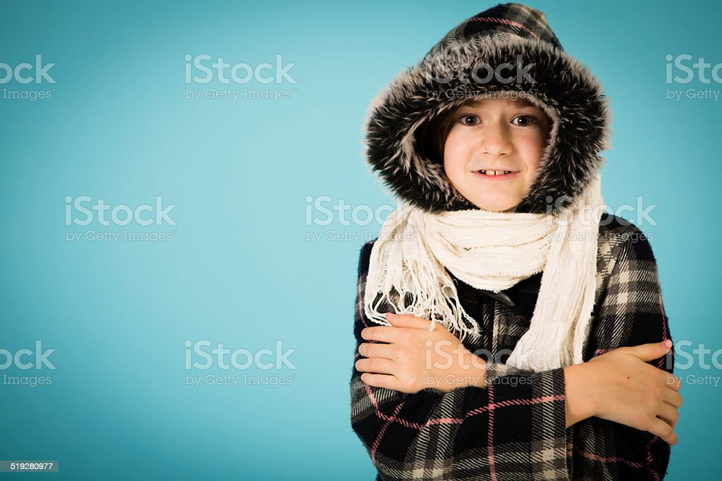Young Girl Dressed in Warm Clothing, With Copy Space stock photo