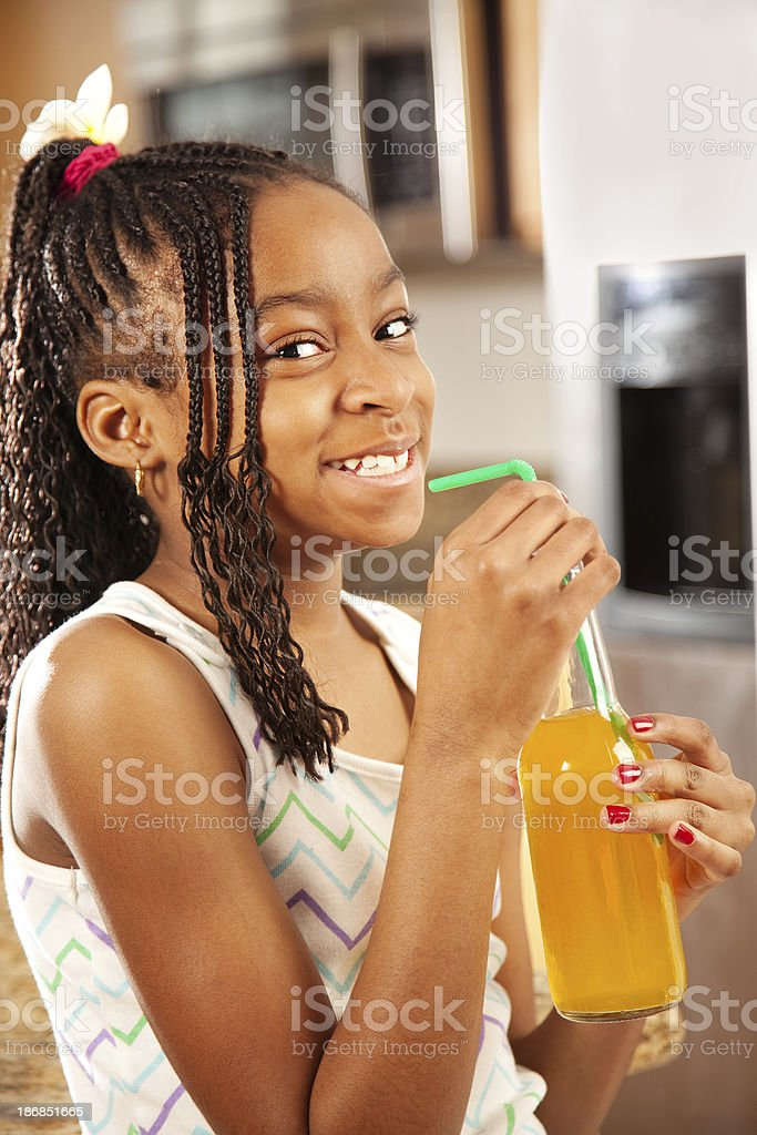 Young Girl Drinking Soda royalty-free stock photo