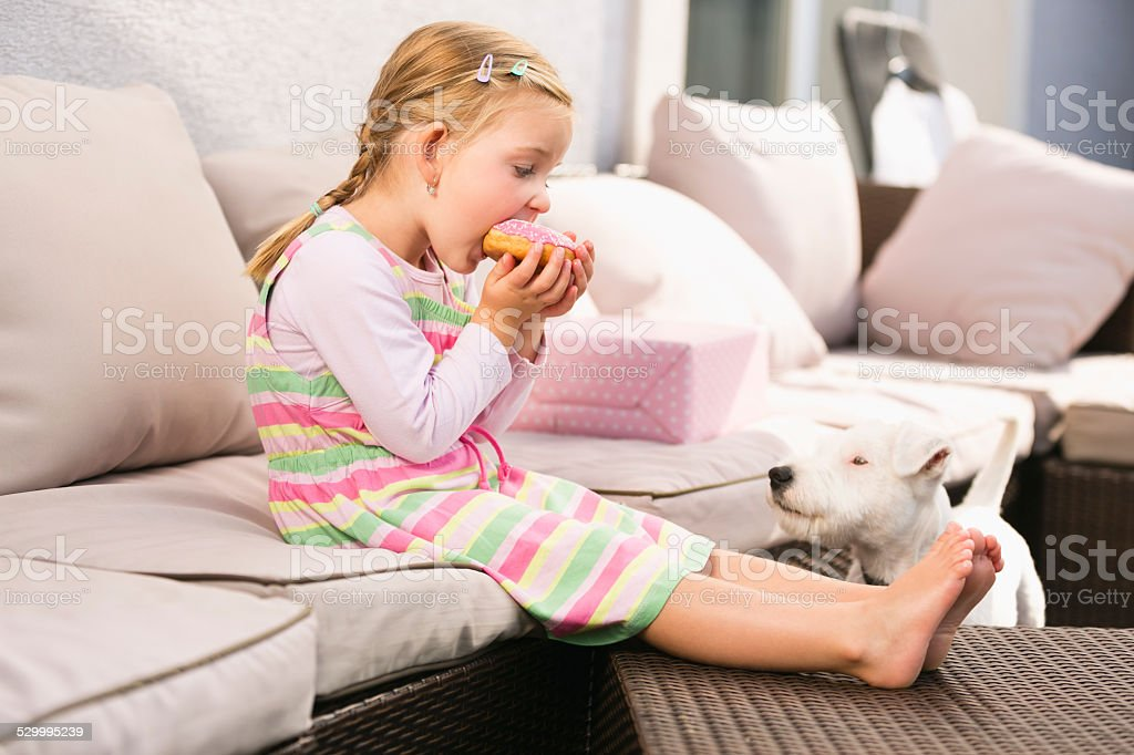 Young girl eating doughnut dog waiting next to her stock photo