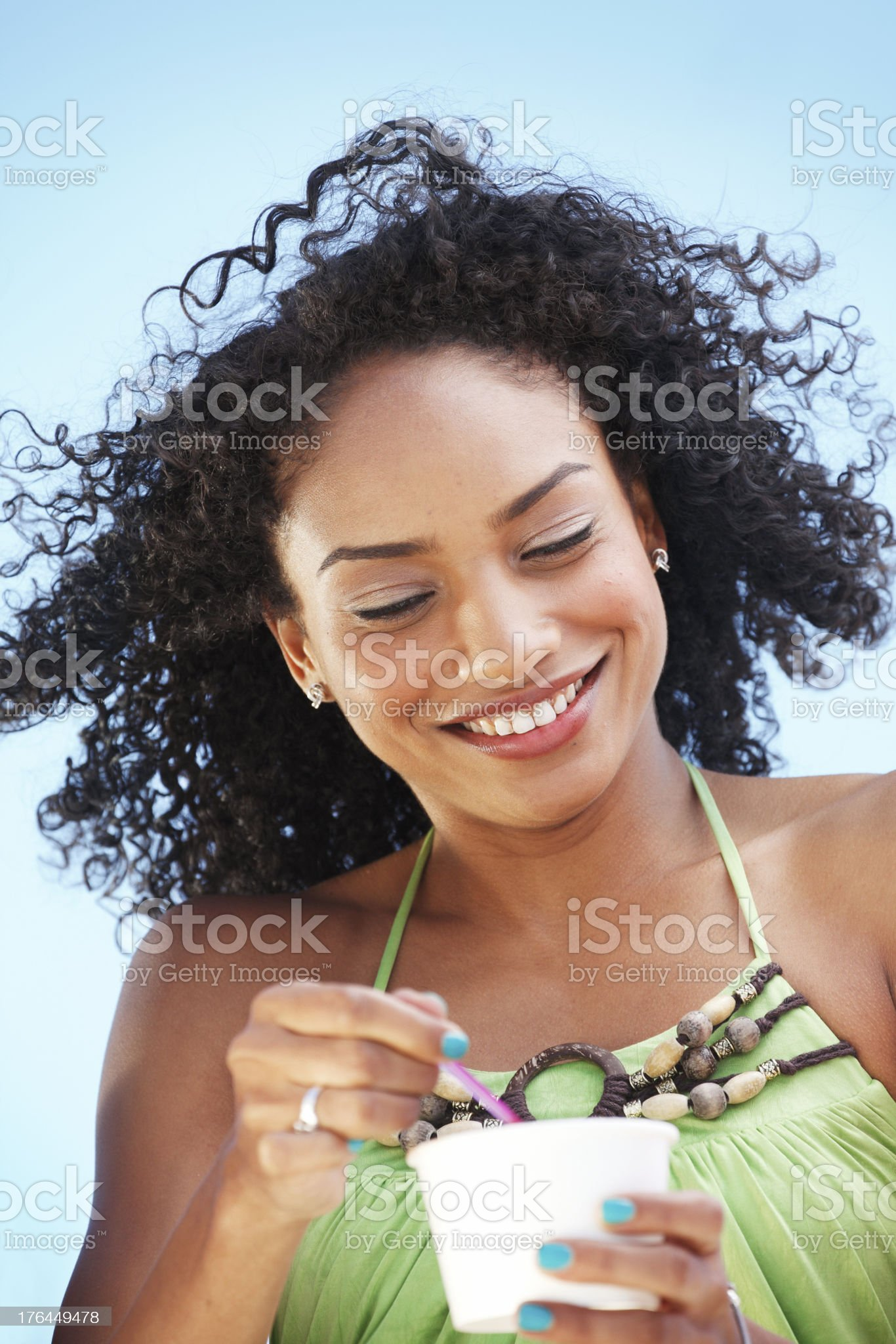 Young girl eating ice cream royalty-free stock photo