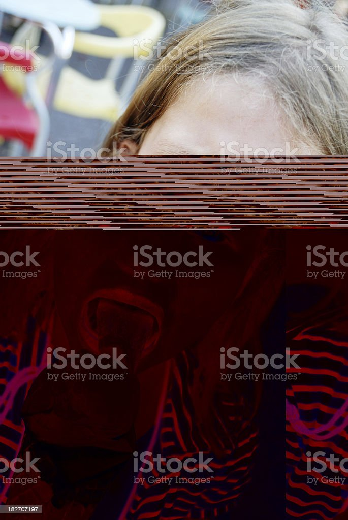 young girl eating ice cream stock photo
