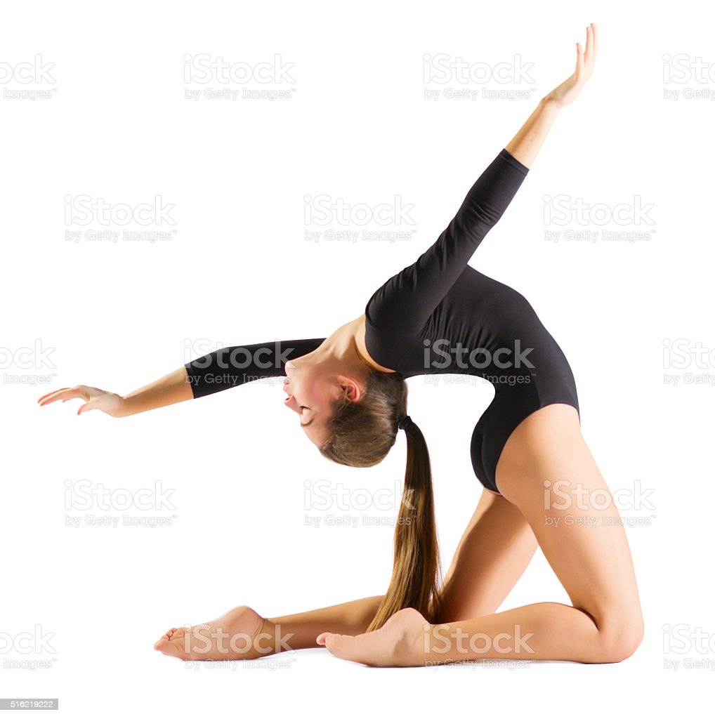 Young girl engaged art gymnastic stock photo