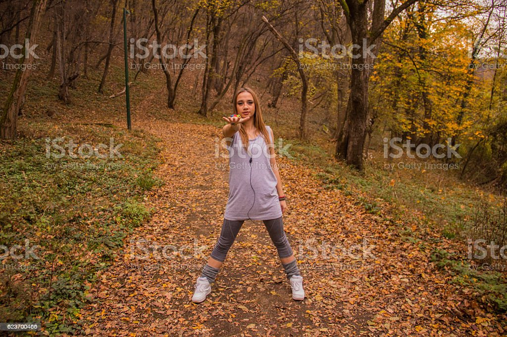 Young girl exercising royalty-free stock photo
