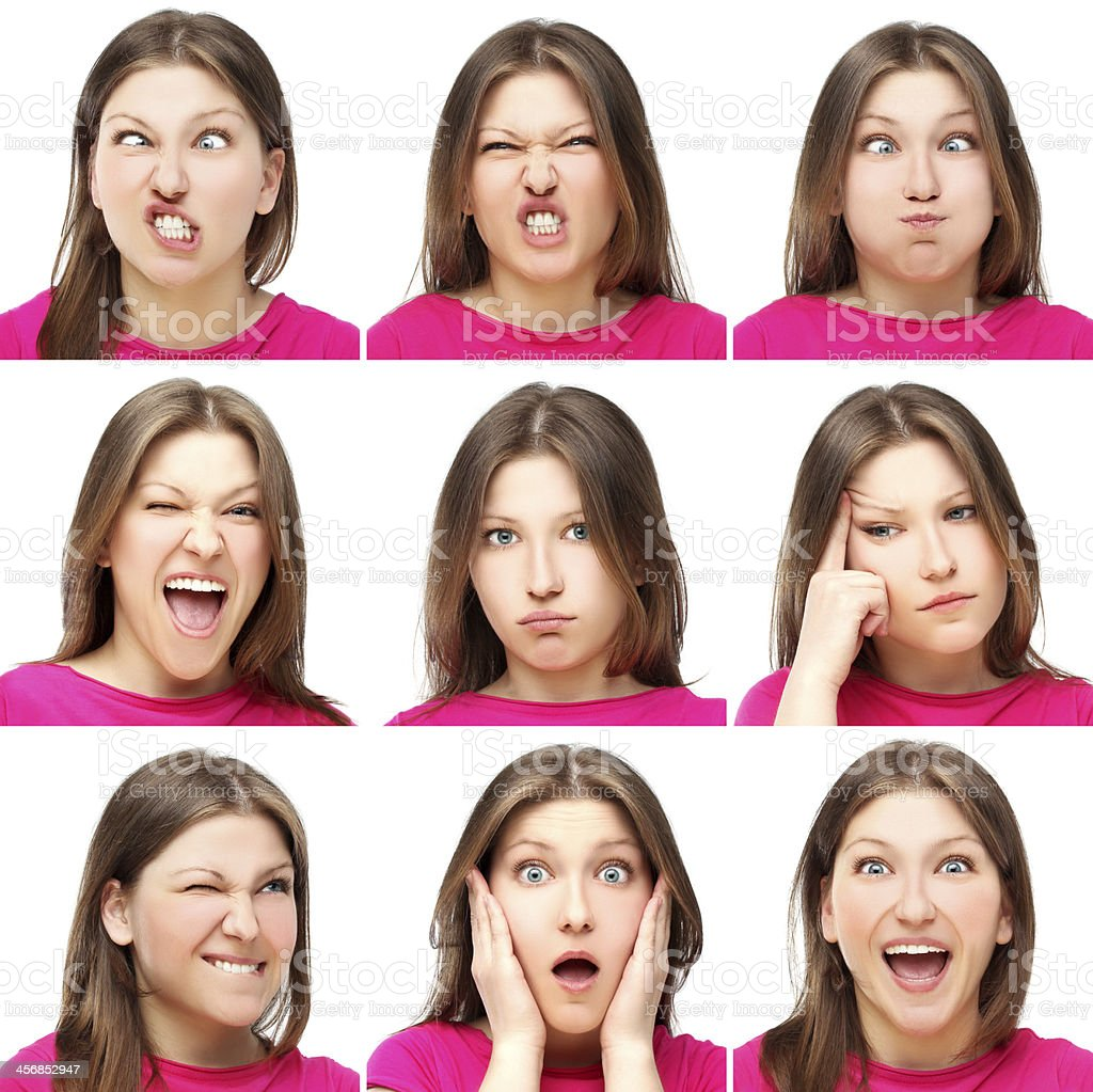 Young girl expression collection set stock photo