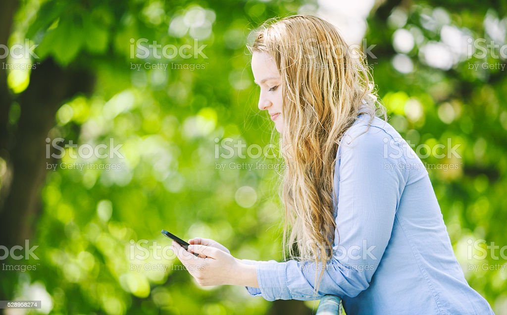 Young Girl Flirting With Boys On The Internet stock photo