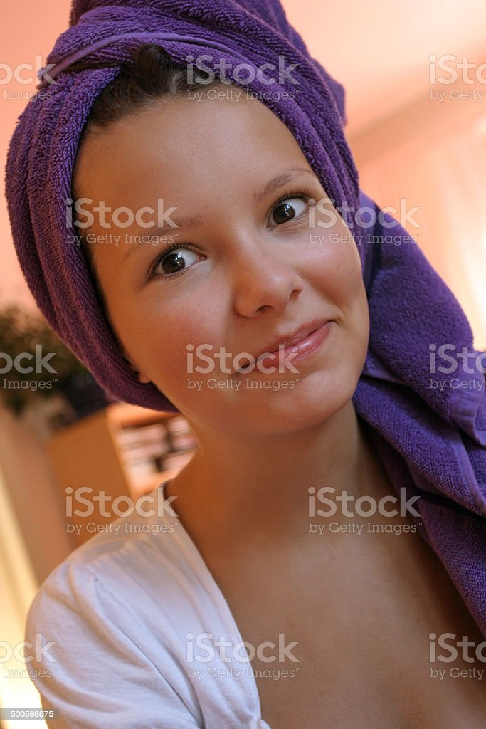 Young girl, fourteen years, making grimaces stock photo