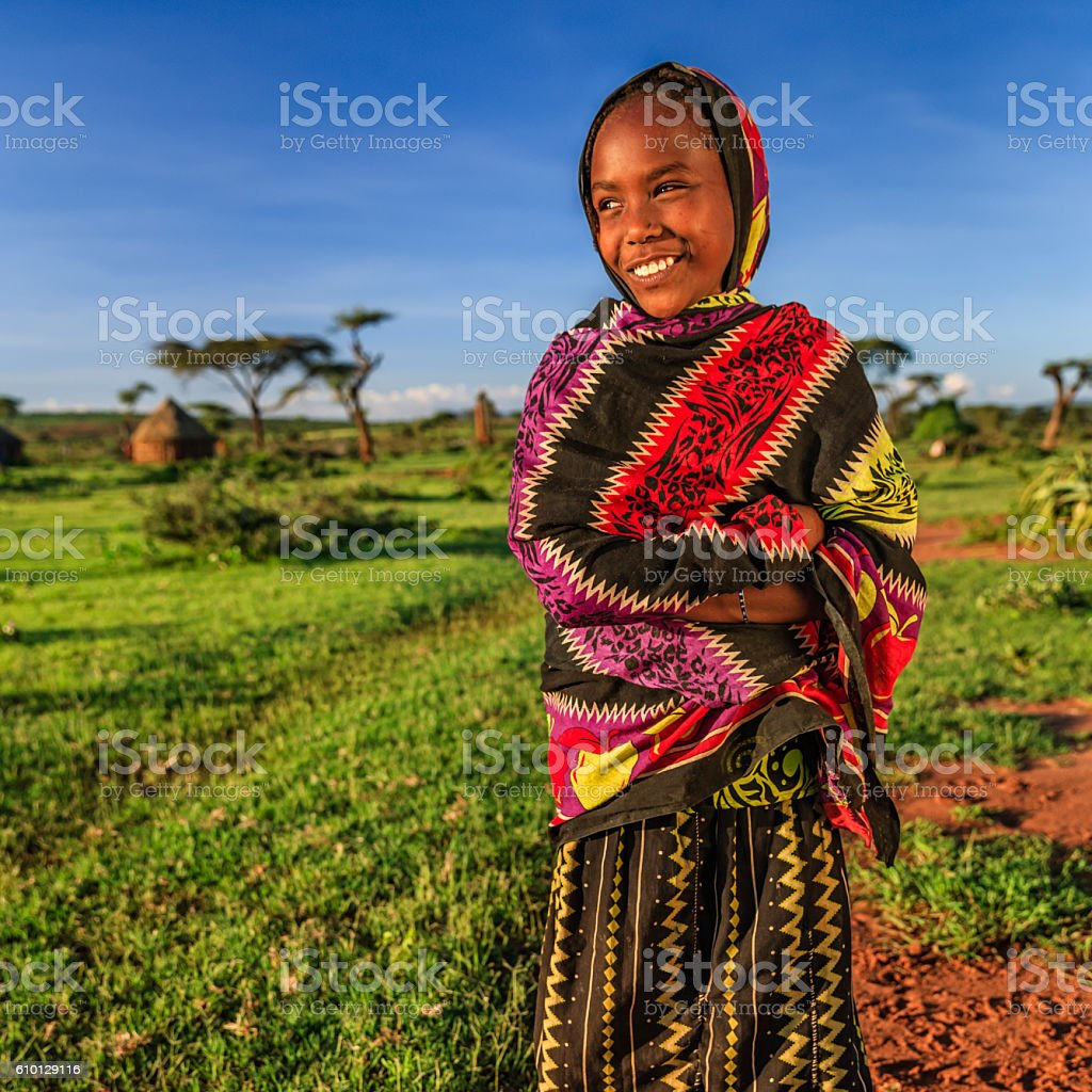 Young girl from Borana tribe, southern Ethiopia, Africa stock photo