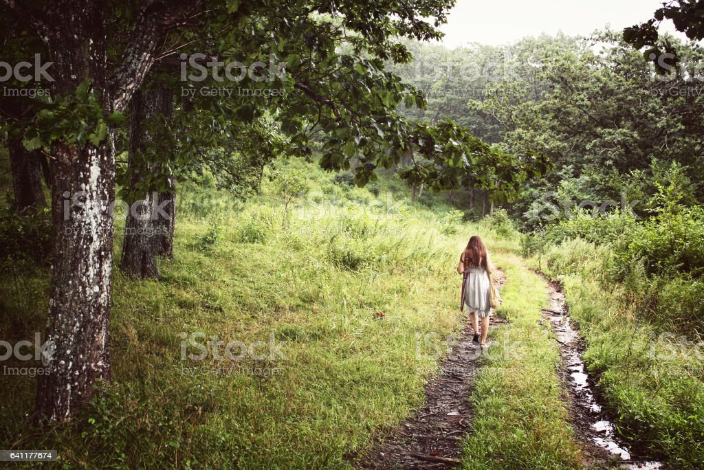 Young girl from the back in a dress walking alone on a trail in the forest stock photo