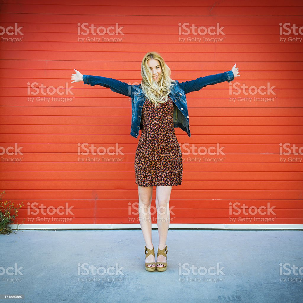 Young girl full of vitality stock photo