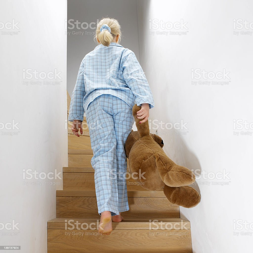 young girl going to bed royalty-free stock photo