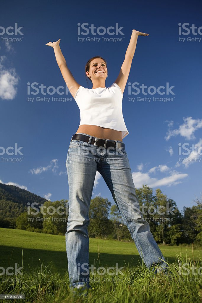 young girl happiness outdoor stock photo