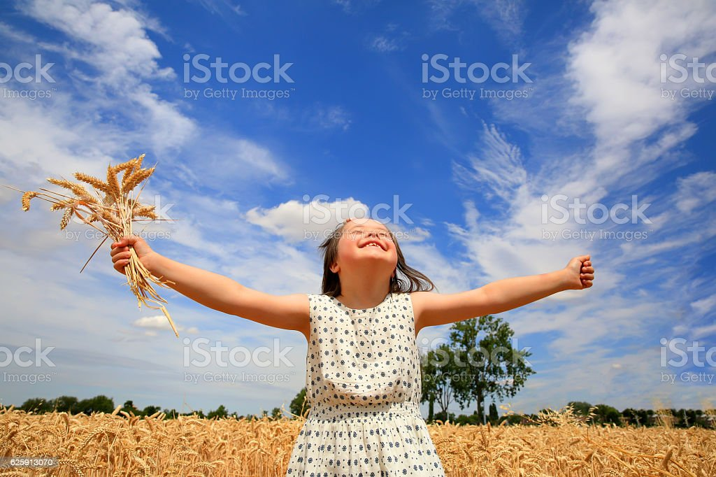 Young girl have fun in the wheat field stock photo