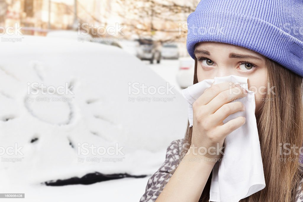 young girl having a cold royalty-free stock photo