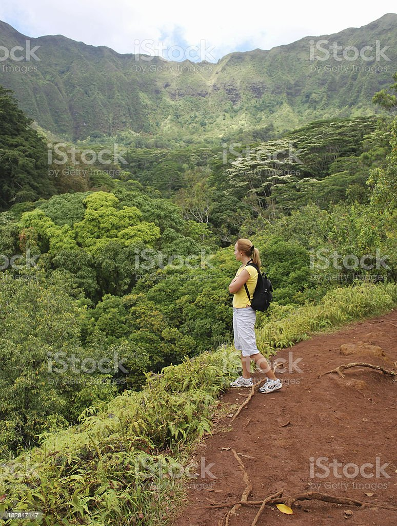 Young Girl Hiking in Hawaii royalty-free stock photo
