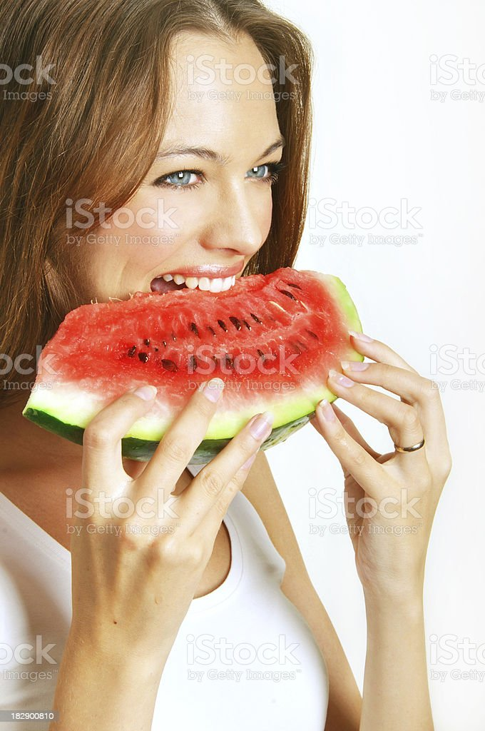 young girl  hold  watermelon royalty-free stock photo