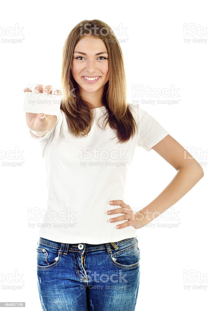 Young girl holding a blank business card stock photo