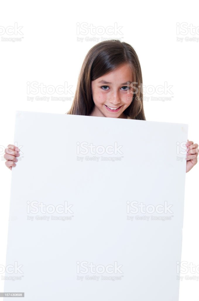 Young girl holding a blank sign royalty-free stock photo