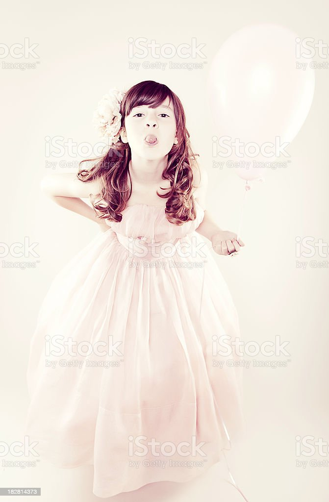Young Girl Holding Balloon royalty-free stock photo