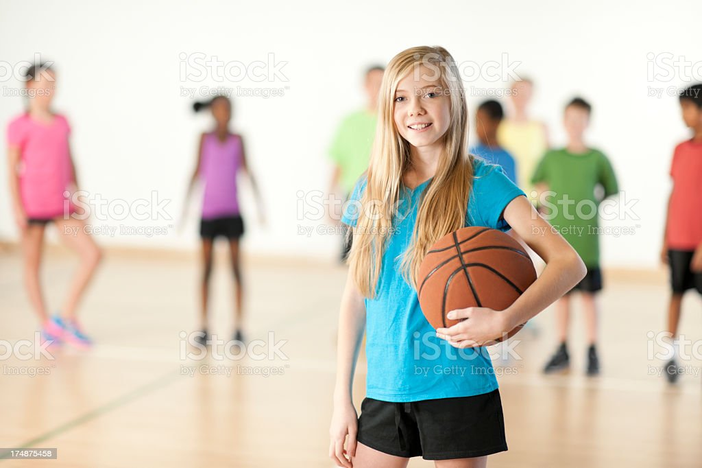 Young Girl holding basketball royalty-free stock photo