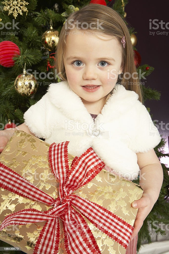 Young Girl Holding Gift In Front Of Christmas Tree royalty-free stock photo