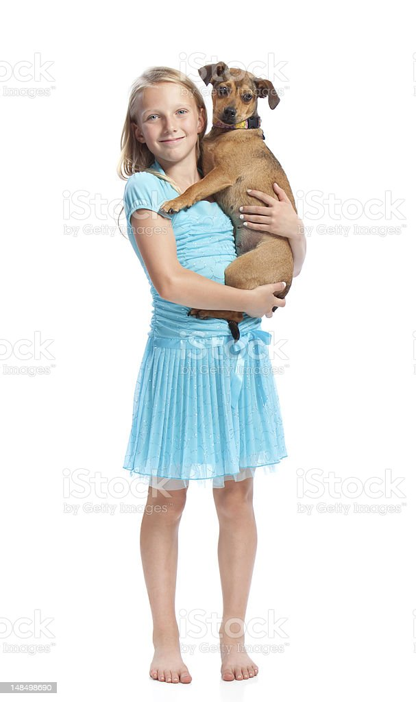 Young Girl Holding her Dog royalty-free stock photo