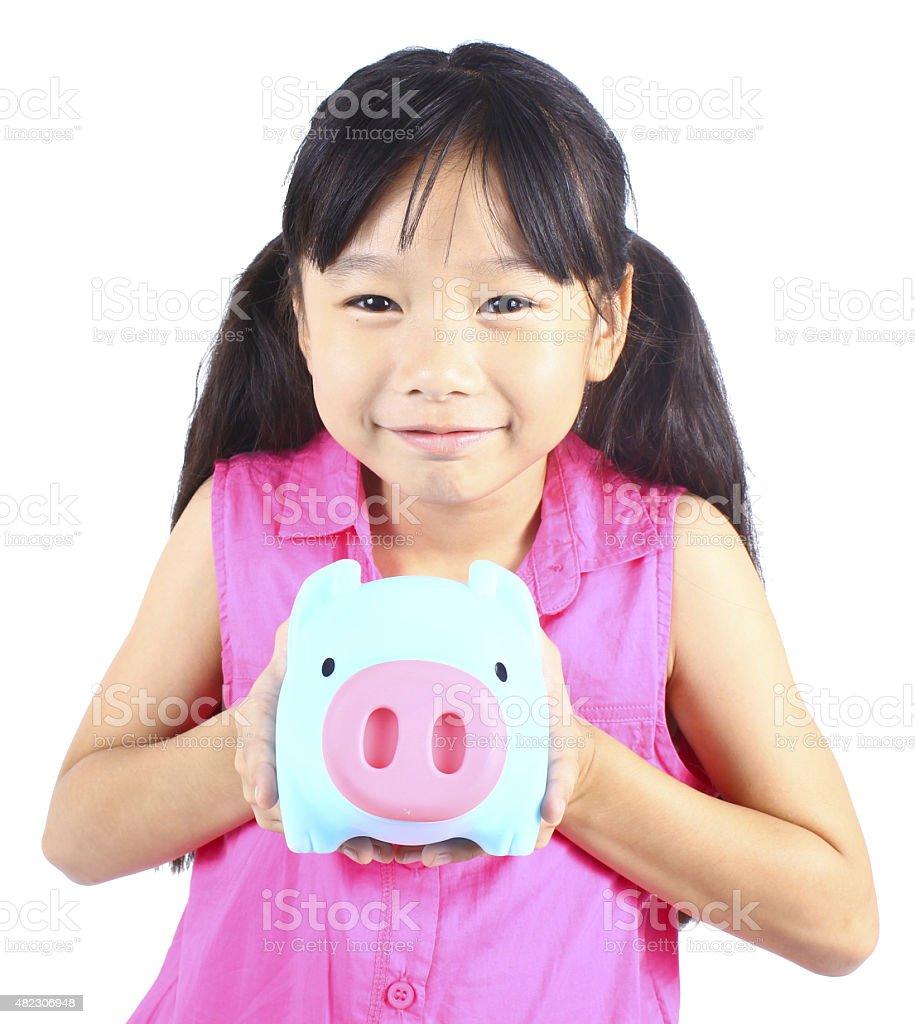 Junges Mädchen holding Sparschwein Lizenzfreies stock-foto